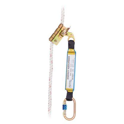Urządzenie samozaciskowe na linę z absorberem